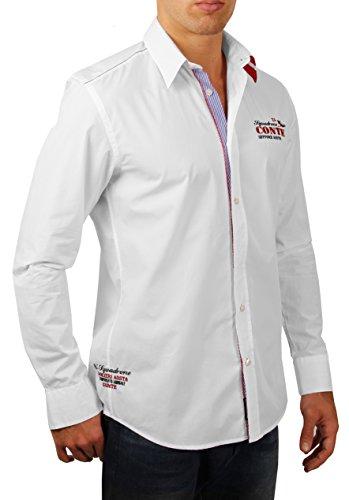 M.Conte Men Shirt Camicia Manica lunga Casual Cotone da Uomo Antonio white, Size M