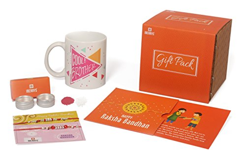 iberrys Set of Two Rakhi with Rakshabandhan Card and Roli Chawal & Coffee Mug 350 Ml for Brother(Men/Boys) (Combo 1)-Best Gift from Sister