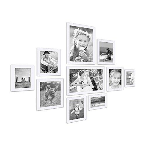 10er Bilderrahmen-Collage Photolini Basic Collection Modern Weiss aus MDF inklusive Zubehör /...