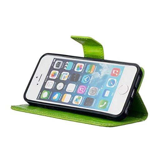 iPhone Case Cover Hochwertige Premium PU-Leder-Kasten-Abdeckungs-feste Farben-Löwenzahn-prägenmappe-Standplatz-Fall-Abdeckung für IPhone 5 5S SE ( Color : Gold , Size : IPhone 5S SE ) Green
