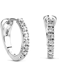 Orovi Woman Hoops Earrings 14 ct/585 White Gold With Diamonds Brilliant Cut 0.11 ct