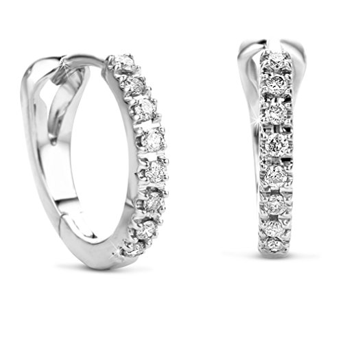 8fde9a2fea27 Orovi Woman Hoops Earrings 14 ct   585 White Gold With Diamonds Brilliant  Cut 0.11 ct