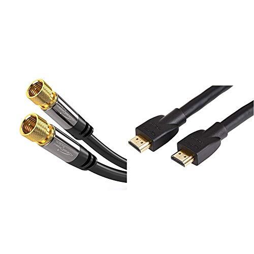 KabelDirekt - SAT Kabel - 5m - PRO Series & AmazonBasics Hochgeschwindigkeits-HDMI-Kabel 2.0, Ethernet, 3D, 4K-Videowiedergabe und ARC, 4,6 m