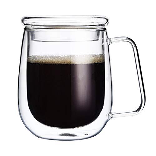 Tasses à café avec couvercle, tasses à double paroi isotherme en verre borosilicate pour boire Thé, Latte, Espresso, jus, ou de l'eau,, par Mr. Mug & MS. de tasse (250Ml, 283,5 gram)