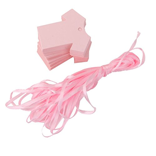 WINOMO Bambino doccia partito favore Etichette carta panno carta forma 100pz (rosa)