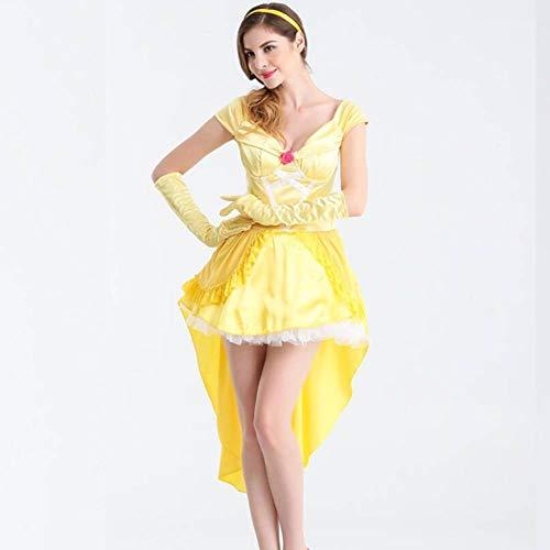 ASDF Erwachsene Rollenspiele Halloween Spiel Kostüme Märchen Prinzessin Gelb Cosplay - Einzigartige Märchen Kostüm Für Erwachsene