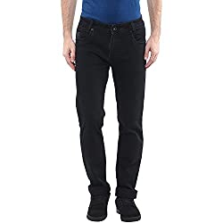 Mufti Mens Black NARROW FIT Mid Rise Jeans (36)