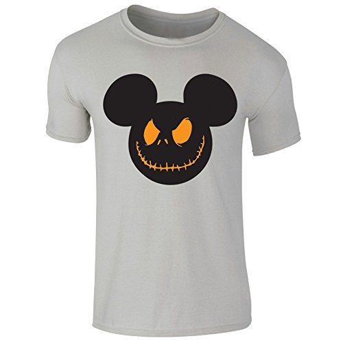 New Men's Haloween Scary Smile Mickey Mouse Print T Shirt Top Tee (X-Large) Grey