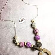 Collana allattamento e dentizione, perle cotone colore rosa per bambina regalo mamma e baby shower