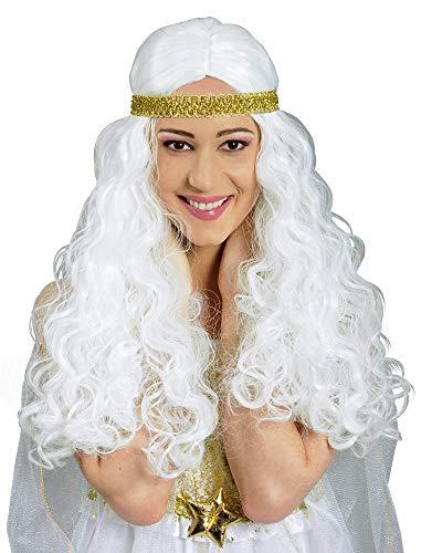 Weiße Engelshaar Perücke - Wunderschönes Accessoire zum Kostüm als Engel, Göttin oder gute Fee