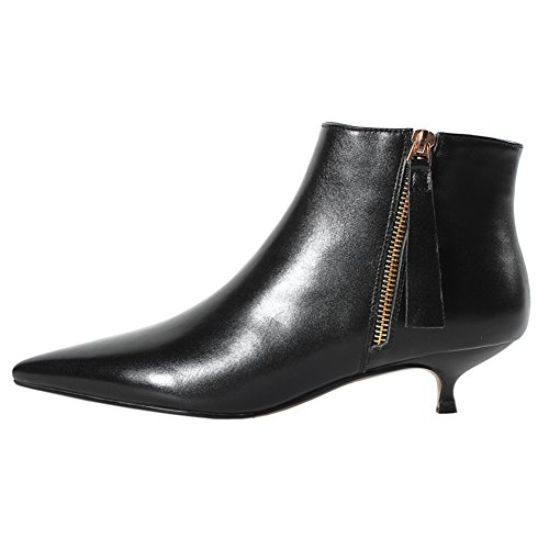 VOCOSI Damen Klassische Stiefeletten Kitten Heel Closed Pointy Zipper Leder Booties Black 41 EU