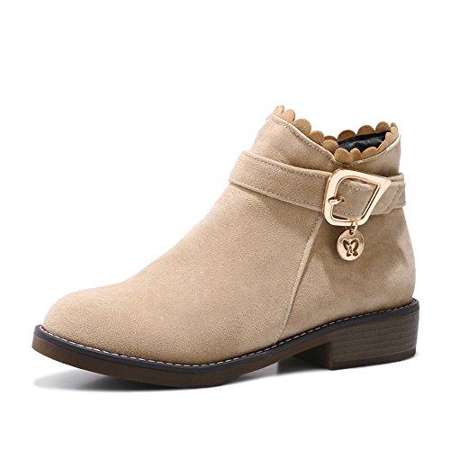 a0e2fdda9014 Haizhen Bottines Chaussures Femme Plissé Chaussures À Talons Hiver   Cheville  Bottes Pour Robe Beige Gris