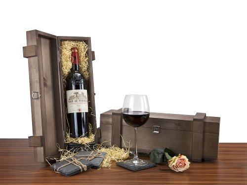 Exklusives Wein-Geschenkset: 1 Fl. Bordeaux supérieur, 0,75 l, 4 Schieferuntersetzer, 1 Holzkiste
