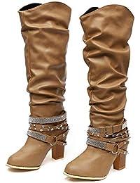 62e4b7b80a5d SWISSWELL Botte Femme Talon Haut Bottines Mode Sexy Chaussures Mode  Cuissarde Cacalier