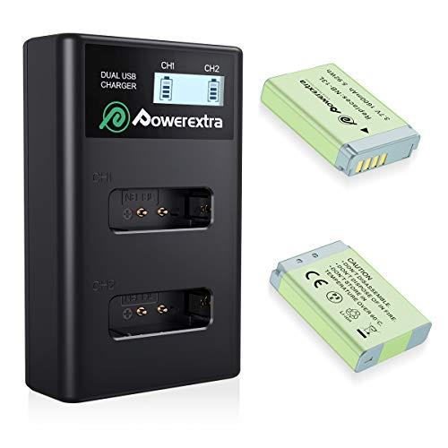 Powerextra CanonNB-13L Lot de 2 Batteries de Rechange 1600 mAh + 1 Double Chargeur d'écran LCD pour Canon PowerShot G5 X, G7 X, G7 X Mark II, G9 X, G9 X Mark II, SX620 HS, SX720 HS, SX730 HS