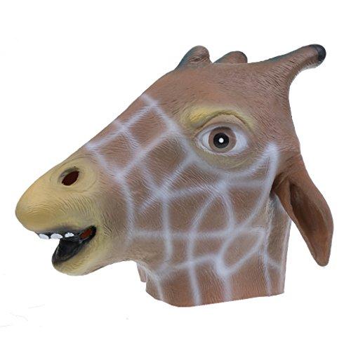 aske Halloween Cosplay Party Kostüm Abendkleid - Giraffe (Giraffe Latex Maske)