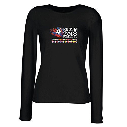 lepni.me Weibliche Langen Ärmeln T-Shirt Russland-Weltcup-Cup 2018, Alle 32 Nationalen Fußballmannschaft Flaggen (XX-Large Schwarz Mehrfarben)