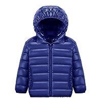FMDD Kids down jacket Boys Girls Lightweight down coat Windproof Hooded Down Puffer Jacket,Winter Warm duck down Puffer Coat (Navy, 130(Height:110~120cm))