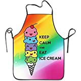 Outcomfy Novelty Keep Calm and Eat Ice Cream Unisex Kitchen Chef Apron - Chef Apron for Cooking,Baking,Crafting,Gardening and BBQ