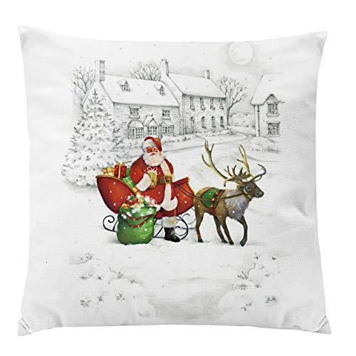 LILICAT Joyeux Noël Housse de Coussin carré taie d'oreiller décor à la Maison Coussins décoration de Noël taie d'oreiller Super Doux