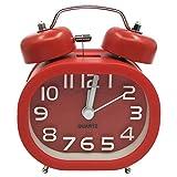 COOJA Mechanischer Wecker mit Lautem Alarm, 3 Zoll Doppelglockenwecker Wecker Nostalgie Retro Wecker Ohne Ticken Analog Lautlos Wecker Klein Quarz -Rot