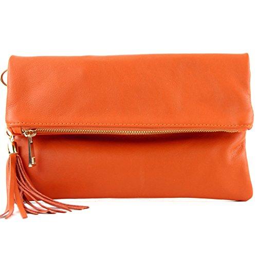 tracolla in in Borsetta italiana Orange a mano pelle misura T54 pelle piccola wAXpICq