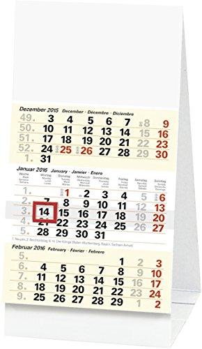 Baier & Schneider Monats-Aufstellkalender Dreimonats-Tischkalender, Karton, 97 x 190 mm, weiß