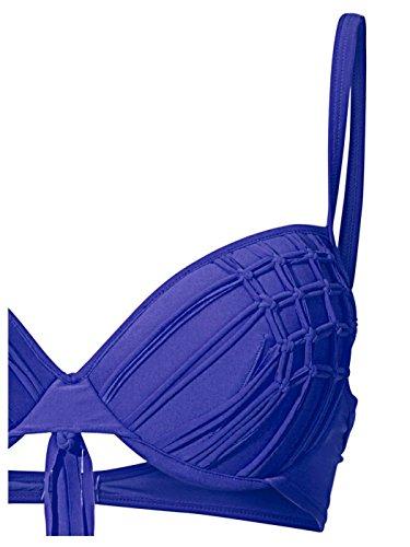 Heine Damen Softcup Bügel Bikini mit Fransen Blau + Orange Cup C Royalblau