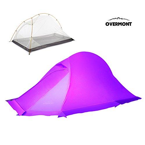 Overmont 20D Professionell Leicht 1-2 Personen 4 Jahreszeiten Trekkingzelt Zelt Familienzelt Campingzelt für Camping Wandern Reisen und Klettern 215*130*105cm Orange/ Lila