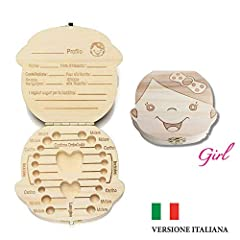 Idea Regalo - Cofanetto Conserva Denti box per bambini (Versione Italiana) - Bimbo e Bimba Scatola dei Ricordi per Denti da Latte dei Bambini Scatoletta di Memoria Scatolina Porta Dentini (Bambina)