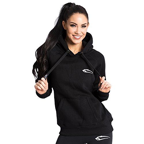 Smilodox Damen Zip Hoodie BASIC Kapuzenjacke / Kapuzenpullover Sweashirts Zip Jacke, Farbe:Schwarz/Pink, Größe:M