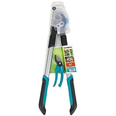 GARDENA Classic Astschere + Gartenschere: Scheren-Set für die Gartenarbeit, Astschere mit 61 cm Länge, antihaftbeschichtete Präzisionsmesser mit Bypass-Schneidtechnik, ergonomische Griffe (8786-30)