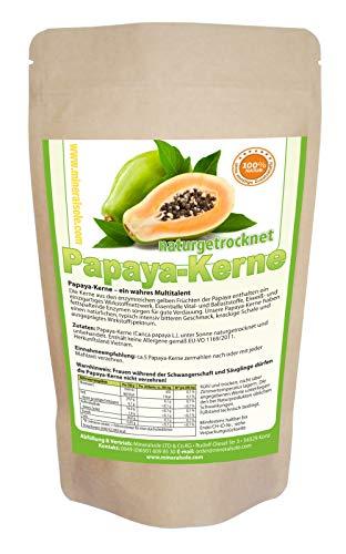 Papaya-Kerne I 500g I Papaya-Samen I ACHTUNG! KEINE HYBRID SAMEN daher sehr intensive natürliche BITTERE Geschmack! Inatur schonend getrocknet I Rohkost I Laborgeprüft I Vegan