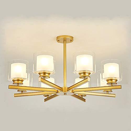 Gold 8 Licht (Szlight Pendelleuchte Deckenleuchte Moderne Kreative Nordic Metall Glas Kronleuchter LED Hängelampe für Wohnzimmer Schlafzimmer Arbeitszimmer oder Hotel,6 Licht,8 Licht,E27 (Gold,8 Heads))