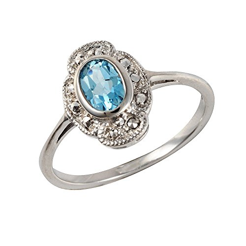 Esse Marcasite Ring Sterling Silber rhodiniert Topas blau oval Jugendstil Größe-M