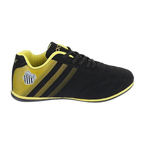 Chaussures femme, 1327, les loisirs chaussures à lacets Sneakers Noir - Schwarz Gelb