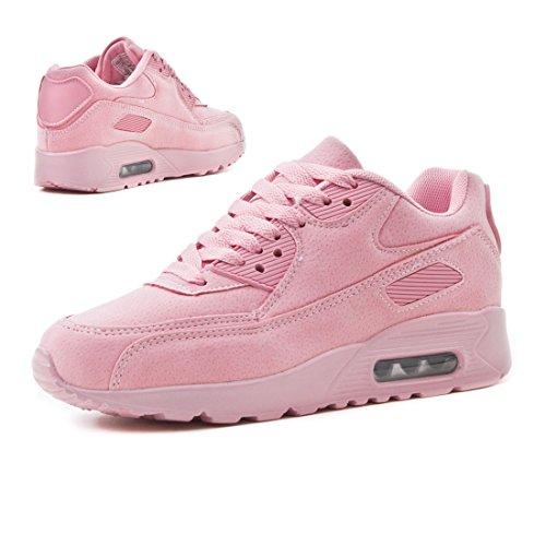 Trendige Unisex Damen Kinder Herren Laufschuhe Schnür Sneaker Sport Fitness Turnschuhe Pink Velouroptik