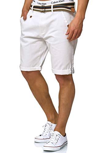 Indicode Herren Cuba Chino-Shorts Kurze Hose mit Gürtel aus 100% Baumwolle Off White XXL -