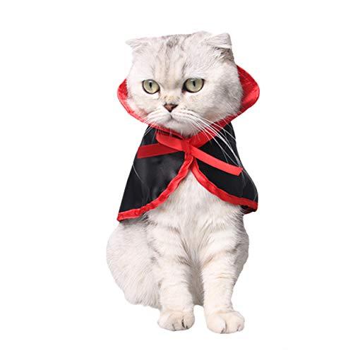 (Legendog Katzen Kostüm, Halloween Haustier Kostüme Nettes Cosplay Vampirs-Umhang-Kap für Kleine Katzen Welpen)