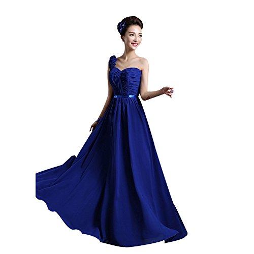 BOMOVO Lang Chiffon Herz-Ausschnitt Abendkleid Ballkleid Brautjungfernkleid violett B