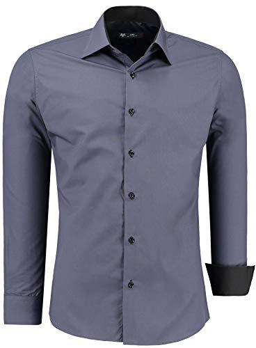 Baumwolle Schwarz Europäische Kragen-shirt (TMK Herren Hemd - Slim - Fit - Langarm - Premium Bügelleicht Hemden für Business, Freizeit, Hochzeit, Party für Männer (XXX-L, Anthrazit/Schwarz Kragen))