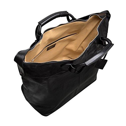 Maxwell Scott Bags® PERSONALISIERT! Luxus Weekender Tasche aus Leder in Dunkelbraun (Fabrizo) Schwarz