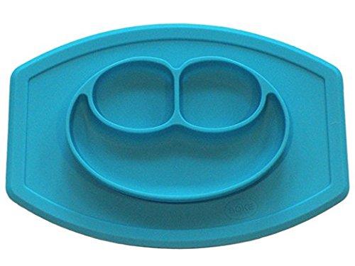 smartlly All in One mini Silikon Saugnapf Tisch-Sets und Teller Smiley, Design-Blau