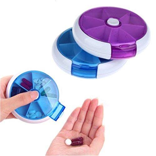 2pcs 7 Compartment 7 Day Pill Reminder Round Plastic Portable Medicine Storage Case Container Pill Box