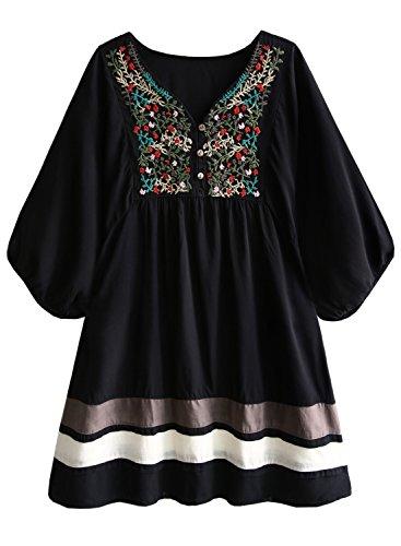 Futurino Women Mexican Embroidered Peasant V Neck Tunic Blouse Tops