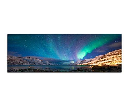 Bilder Wand Bild - Kunstdruck 150x50cm Norwegen See Berge Nacht Polarlichter