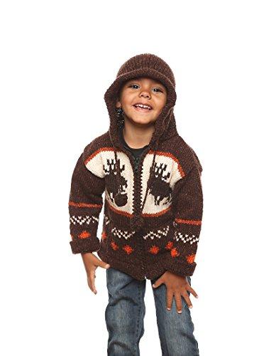 """Mädchen - Otavalo Wolle/Baumwolle-Mischung - Handgestrickete Kapuzenjacke """"Elch"""" - Strickjacke mit Reißverschluss - Größe: 6-7 Jahre alt"""