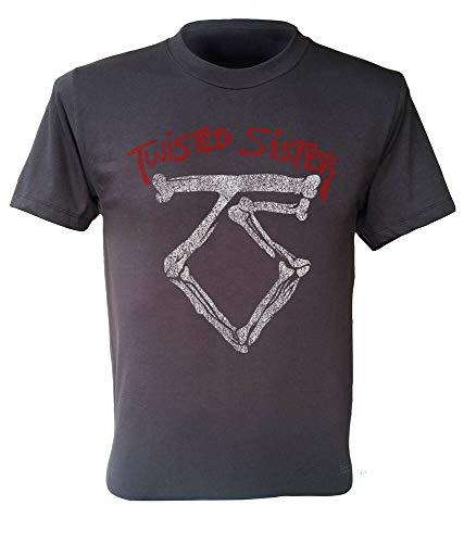 Twisted Sister t-Shirt Logo US Rock Band Retro Men Dark Grey Shirt S to 2XL (Sister-t-shirt Twisted)