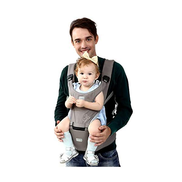 "BeeViuc Baby Carrier Hip Seat Classical Desgined Baby Carrier Backpack for 0-36months -Gray BeeViuc Ultimate Comfort For Baby - The Baby Carrier is Used Soft Classical Cotton With Polyester Touching. Suit For Baby Who is Between 3-36 Months and 0-20 KG. Ultimate Comfort For Parents - An adjustable Velcro Waist Strap That Puts Some Of The Weight On Your Hips. Ultra Extand And Soft Padded Shoulder Straps For The Best Comfortable For All Parents. Baby Hip Healthy - Enable Your Baby To Be Seated in An Optimal Natural ""M Shape"" Position From Newborn To Toddler. The Carrier Has Been Acknowledged As a ""Hip-Healthy"" Product By The International Hip Dysplasia Institute. 1"