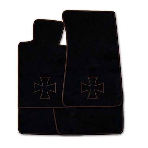 Preisvergleich Produktbild Fußmatten aus NF-Velours in Schwarz mit Logo EISERNES KREUZ (Kontur) mittig, Rand & Logo in Braun (315) für Volvo 3er 340 360 Baujahr 1987-1988
